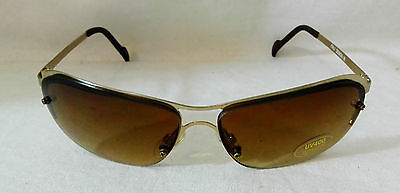#47 Cat Eyes Gold Frame Brown Tint Women's Wrap Men's Classic Casual Sunglasses
