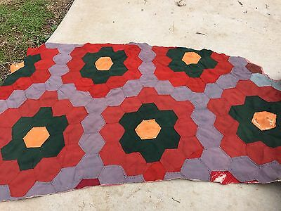 VINTAGE HAND QUILTED EARLY FABRIC (SOME SATIN) FLOWER GARDEN CUTTER QUILT PIECE