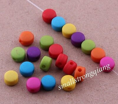 200 pcs mixed color acrylic flat spacer findings Loose beads charms 6x4mm