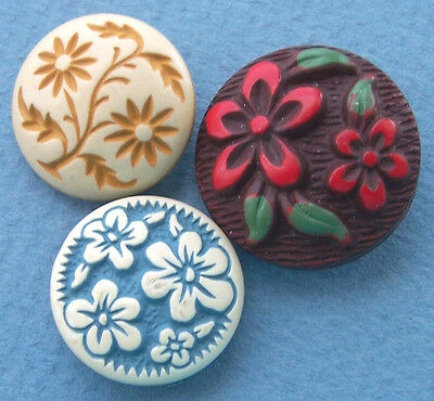 Vintage Floral Buffed Celluloid Buttons