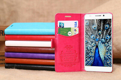 Deluxe Luxury Flip Leather Case Cover Stand Card Holder For Huawei Honor 6