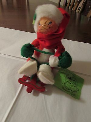 Vintage 1983 Annalee Mobilitee Doll Snow Girl w/Wood Red Sled w/tags, USA