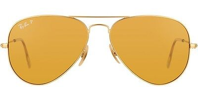 New RAY BAN Sunglasses Authentic RB 3025 112/O6 Matte Gold POLARIZED Aviator 58