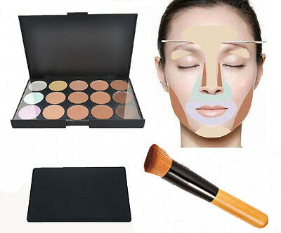 New 15 Colors Contour Face Cream Concealer Palette + Brush Daily Makeup Tool Set