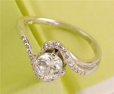 Hot 1pc 925 sterling silver Clear Gemstone Ladies Fashion Pretty Ring Size 9