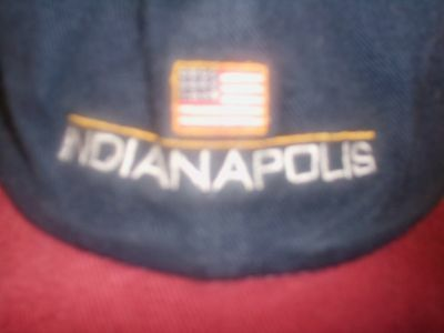 INDIANAPOLIS BALL CAP hat NAVY BLUE/BURGUNDY american flag ADULT ONE SIZE usa