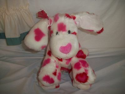 BUILD A BEAR WORKSHOP HEARTS FOR YOU HEART PRINT PUPPY DOG RED PINK CUTE