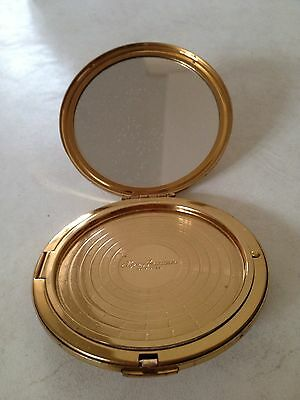 Vintage Large Diameter Gold Tone Floral Engraved Compact by Elgin American USA