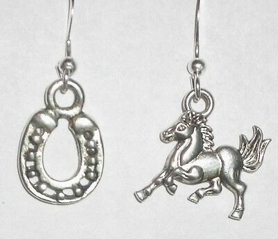 ANTIQUE SILVER EARRINGS WESTERN COWBOY LUCKY CHARM HORSE SHOE TEXAS RANCH RODEO