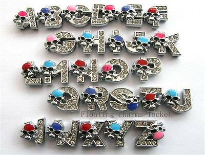 Wholesale 26pcs 8mm Slide Letters A-Z with skull and cross bone for Pet Collars