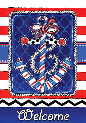 """""""WELCOME"""" ANChOR CheVrOn RED WHITE BLUE Striped 2387 DblSid Mod LARGE FLAG"""