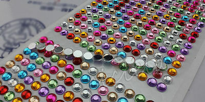 1*Colorful Cell Phone Car Computer Self Adhesive Rhinestone Bling Stickers Round