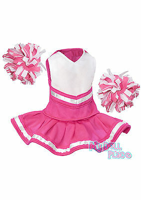 Pink Cheerleader Outfit w/Poms Cute made for 18 inch American Girl Doll Clothes