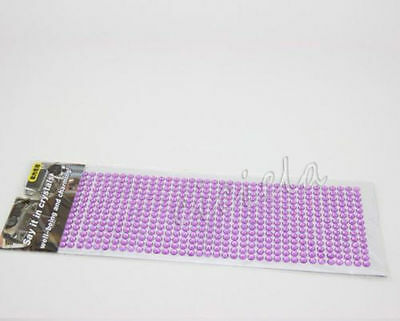 Purple Cell Phone Car Computer Self Adhesive Rhinestone Bling Stickers 3mm Round