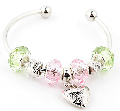 light pink heart  lady's fashion silver CRYSTAL European beaded charm bracelet
