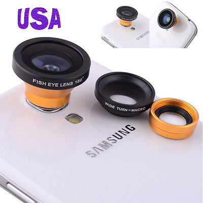USA 3 in 1 Fisheye Lens+Wide Angle+Micro Lens Photo Kit Set For iPhone 5S 5 4/4S