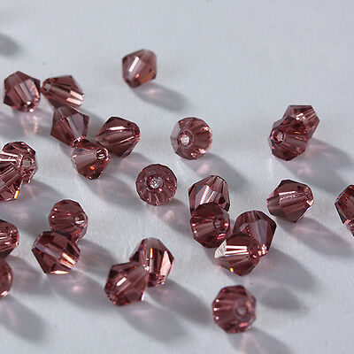 Free shipping !100 pcs 4mm Austria Crystal #5301 Bicone beads Purple red