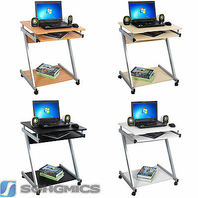 Small Computer Desk Home Office Portable Trolley Workstation PC Laptop Furniture