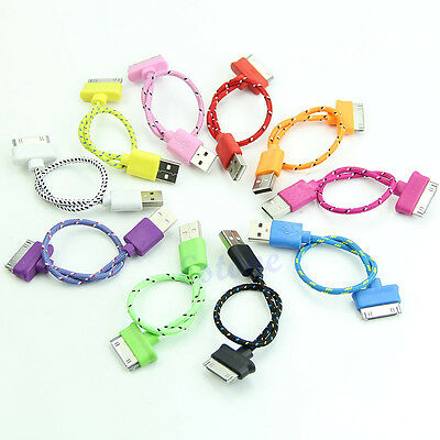 8'' 20cm Short Braided USB Sync Charger Cable Cord For iPad 2 iPhone 4 4S
