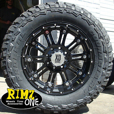 """20"""" XD HOSS Wheels Black 35x12.50-20 Federal MT 35"""" tires Ford Chevy Dodge Jeep"""