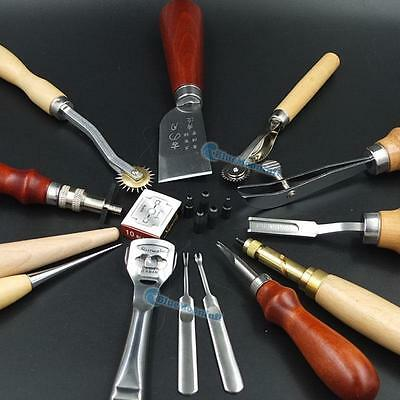 Professional Sewing Leather Craft Tools Kit 13 pcs Hand Punch Skiving Groover BB
