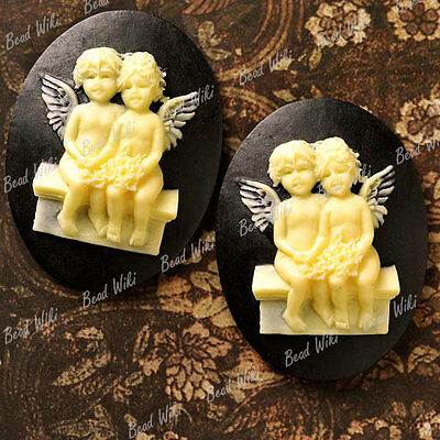Resin Cabochons 2Pcs 40X30mm Flatback Vintage Angel Religious Cameo Black Rb0667