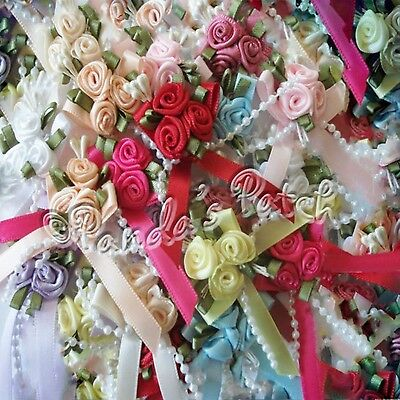 Satin Ribbon Bow And Rose Clusters With Bead Trim - Choose Colour & Pack Size