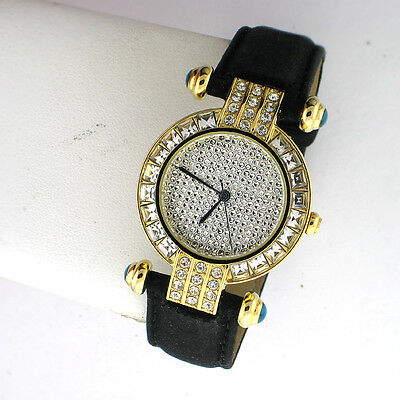 PEUGEOT WOMENS BLACK LEATHER CRYSTAL DIAL SS ANALOG QUARTZ  WR WATCH 3140