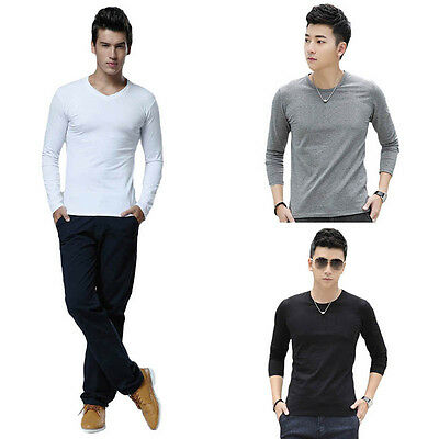 Fashion Men Slim Fit Cotton Crew Neck Long Sleeve Casual T-Shirt Tops Special