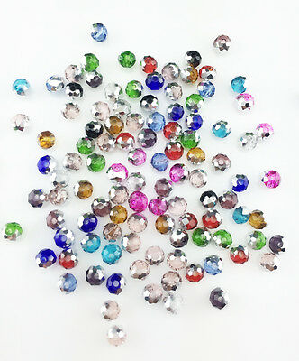 NEW Jewelry Faceted 100 pcs Silver Mix #5040 3x4mm Roundelle Crystal Beads