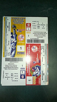 NY NEW YORK YANKEES ALCS & ALDS 2 TICKETS ON ONE SHEET GAME 1 2005