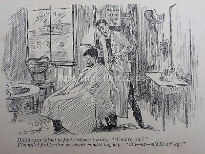 Barber Theme HAIRDRESSER ABOUT TO PART CUSTOMERS HAIR Antique Punch Cartoon