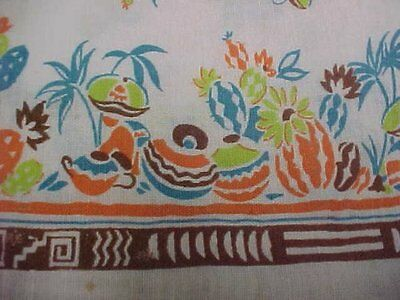 BEST Vintage Feedsack Quilt Fabric Novelty Mexican Border Flour Sack Material