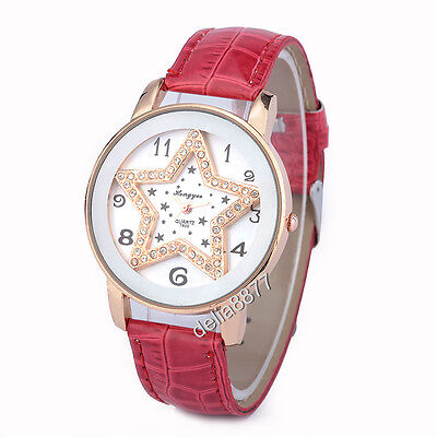 Womens Sweet Crystal Around Golden Star Dial Quartz Wristwatch With Red Band