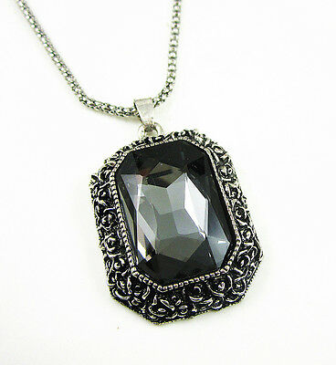 Antique Silver Plated Black Glass Square Pendant Long Chain Necklace