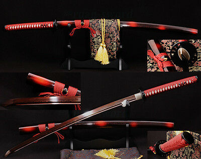 JAPANESE KATANA KILL BILL SWORD Black&Red Folded Steel FULL TANG Blade