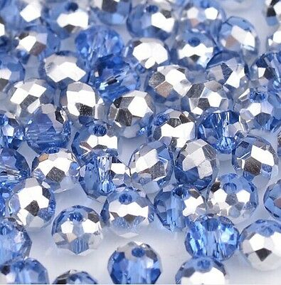 NEW Jewelry Faceted 100 pcs Silver Blue #5040 3x4mm Roundelle Crystal Beads