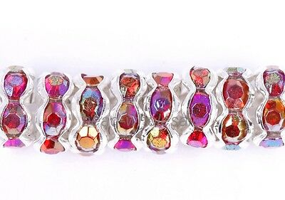 100pcs Round Crystal Rhinestone Findings Diy Beads Spacer 6mm Rose AB Color