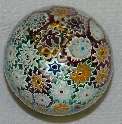Vintage Multi Color Millefiori Cane Egg Shape Art Glass Paperweight