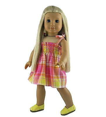 Doll Clothes Dress Shirred Top Pink Plaid with Shoes fits 18 inch American Girl