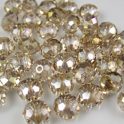 NEW Jewelry Faceted 100 pcs Champagne AB #5040 3x4mm Roundelle Crystal Beads DIY