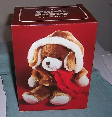 1982 Avon Plush Puppy Stuffed Animal In Box Zip Up Jacket & Scarf