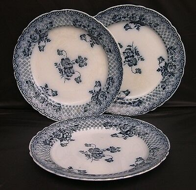 Lot 3 Antique Victorian Ford Son Chatsworth Flow Blue White Staffordshire Plates