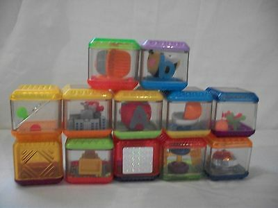 FISHER PRICE PEEK A BLOCKS 12 PIECE LOT LETTERS A & B CITY VIEW BRAIN TEASERS +