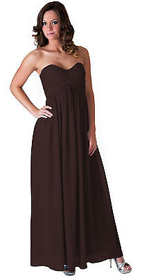 Chocolate Brown Long Evening Gown Bridesmaid Wedding Party Prom Formal Dress 16