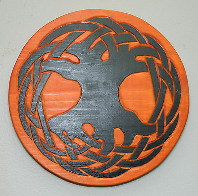 "Handmade Handcarved Pine Wood Tree of Life Silhouette Wall Art Plaque 9"" Brown"
