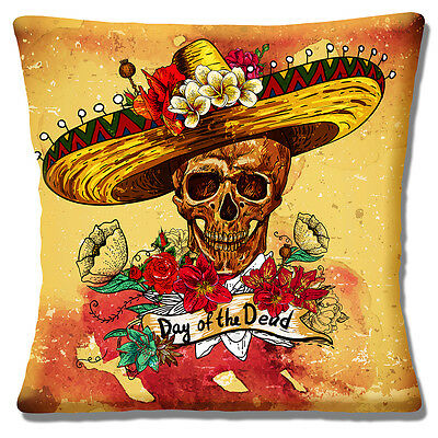 NEW Vintage Retro Mexican Sombrero Day of the Dead Skull 16 Pillow Cushion Cover