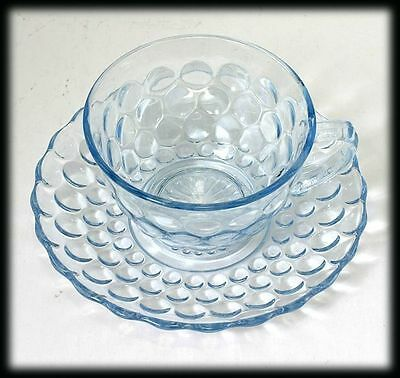 ANCHOR HOCKING BUBBLE SAPHIRE BLUE CUP & SAUCER