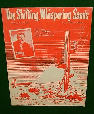 The Shifting, Whispering Sands, Vintage Sheet Music © 1950 Billy Vaughn on Cover
