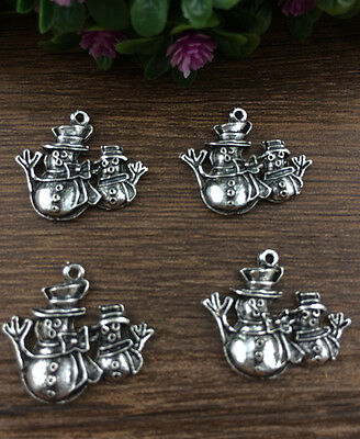 Vintage 6pcs Tibet silver Christmas Snowman Pendant beaded Jewelry Findings